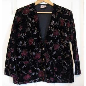 Vintage Floral Print Velvet Blazer Black Pink L